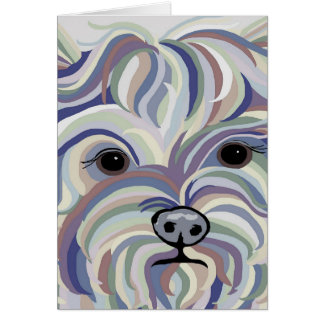 Yorkie in Denim Colors Card