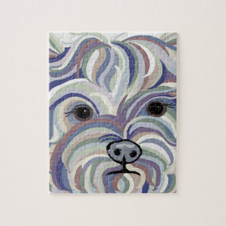 Yorkie in Denim Colors Jigsaw Puzzle