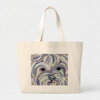 Yorkie in Denim Colors Large Tote Bag