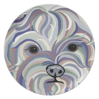 Yorkie in Denim Colors Plate