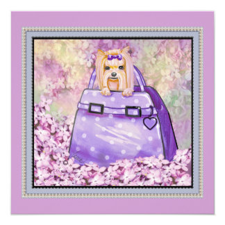 Yorkie In Lilacs Polka Dot Purse Invitation Card
