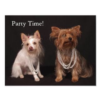 Yorkie in Pearls Party Invitations