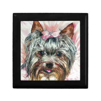Yorkie in Pink Gift Box