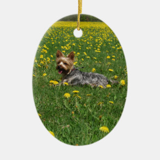 Yorkie in the spring ceramic ornament