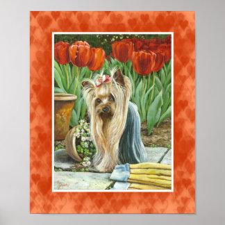 Yorkie in Tulip Garden Canvas Print