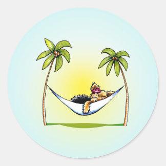Yorkie Island Princess Off-Leash Art™ Round Sticker
