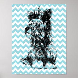 Yorkie Jewels Crown Puppy Dog Blue White Chevron Poster