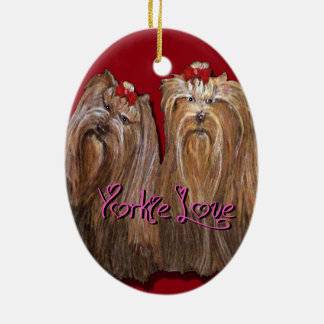 Yorkie Love Collection Ceramic Ornament