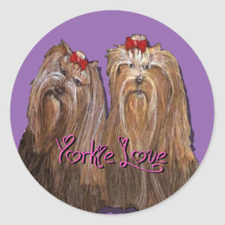 Yorkie Love Collection Classic Round Sticker
