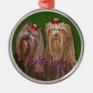 Yorkie Love Collection Metal Ornament