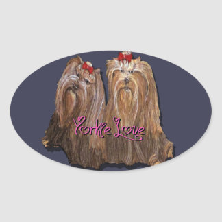 Yorkie Love Collection Oval Sticker