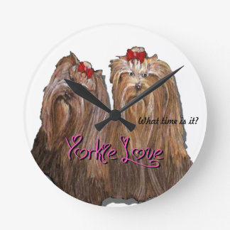 Yorkie Love Collection Round Clock