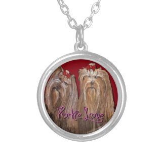 Yorkie Love Collection Silver Plated Necklace
