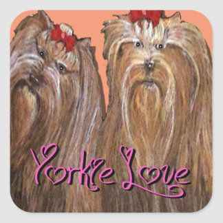 Yorkie Love Collection Square Sticker