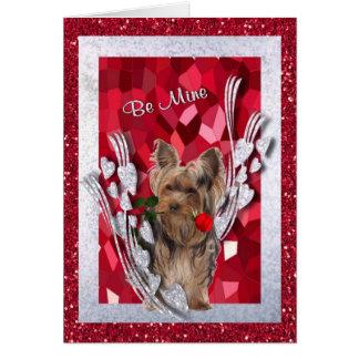 Yorkie Male Puppy Be Mine Valentine Card