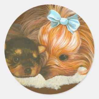 Yorkie Mama with Puppy Round Sticker