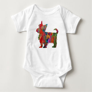 Yorkie Multi Colored Painted Dog Silhouette Baby Bodysuit