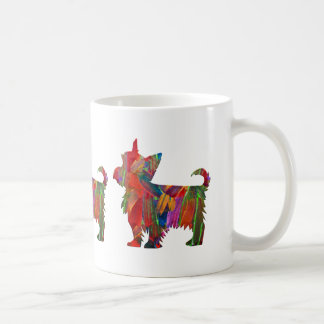 Yorkie Multi Colored Painted Dog Silhouette Coffee Mug