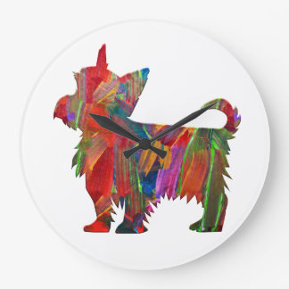Yorkie Multi Colored Painted Dog Silhouette Large Clock