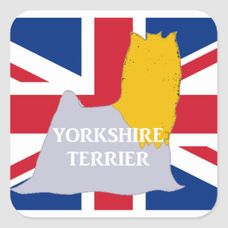 yorkie name silo on flag blue and gold square sticker