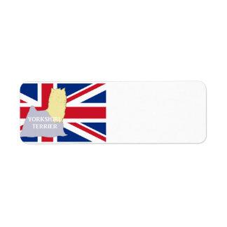 yorkie name silo on flag blue and tan return address label