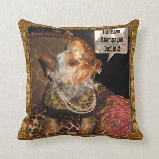 Yorkie Party Night Throw Pillow