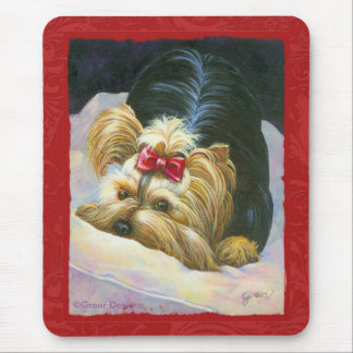 Yorkie Peekaboo Art Red Embossed Mouse Pad