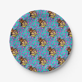 Yorkie Poo Easter 7 Inch Paper Plate