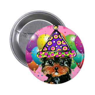 Yorkie Poo Party Dog 2 Inch Round Button