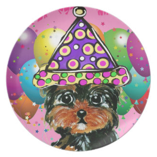 Yorkie Poo Party Dog Plate