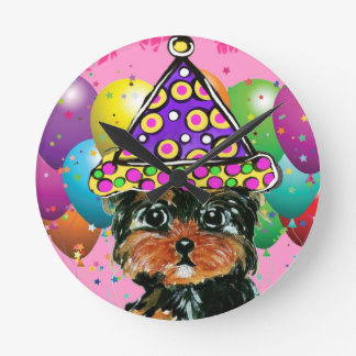 Yorkie Poo Party Dog Round Clock