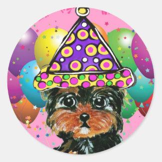 Yorkie Poo Party Dog Round Sticker
