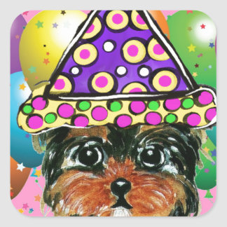 Yorkie Poo Party Dog Square Sticker