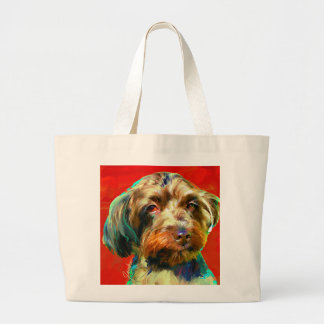 Yorkie/Poodle - Charli Red Large Tote Bag
