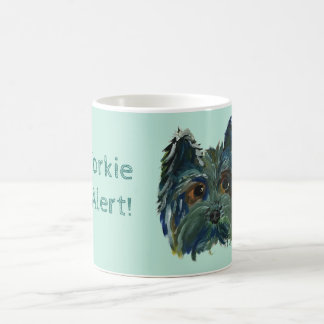 Yorkie Pop Art Painting in Blue and Green Coffee Mug