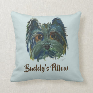 Yorkie Pop Art Painting in Blue and Green Throw Pillow