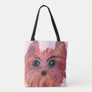 Yorkie Pop Art Painting in Pink and Orange Tote Bag