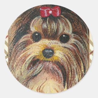 Yorkie Portrait in Plaid Round Sticker