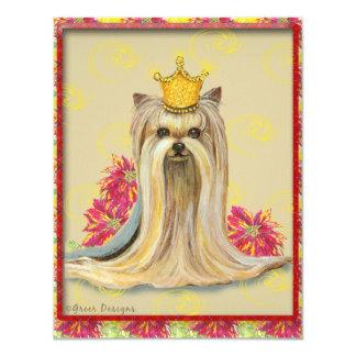 Yorkie Princess Poinsettias Christmas Invitation