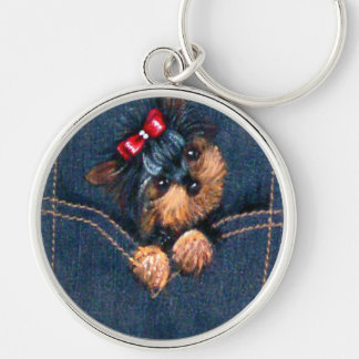 Yorkie Puppy in Pocket Silver-Colored Round Keychain