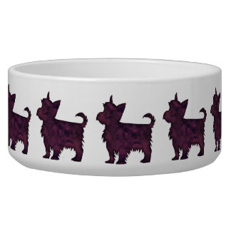 Yorkie Purple Watercolor Silhouette Dog Bowls
