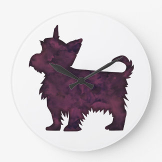 Yorkie Purple Watercolor Silhouette Large Clock