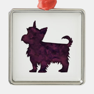 Yorkie Purple Watercolor Silhouette Metal Ornament