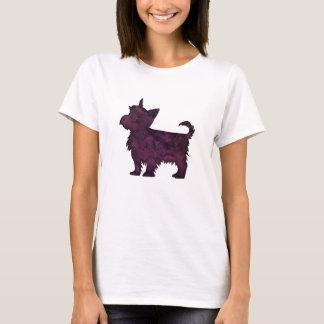 Yorkie Purple Watercolor Silhouette T-Shirt