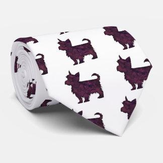 Yorkie Purple Watercolor Silhouette Tie