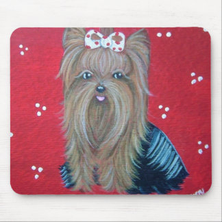 Yorkie Red Mouse pad
