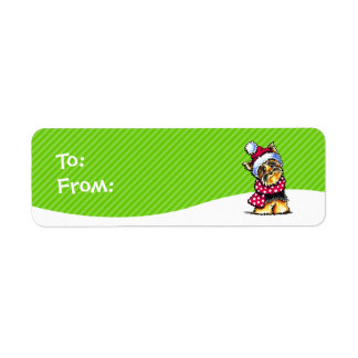 Yorkie Scarf Christmas Gift Tags To/From Return Address Label