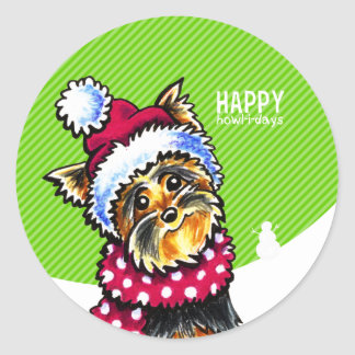Yorkie Scarf Christmas Happy Howl-i-days Classic Round Sticker