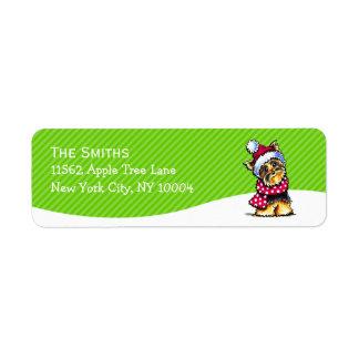 Yorkie Scarf Christmas Mailing Mod Green Stripe Return Address Label