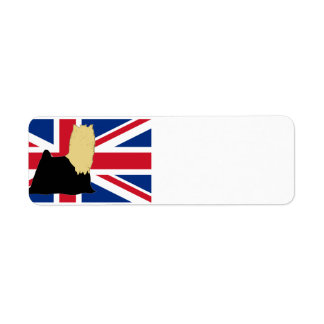 yorkie silo on flag black and tan return address label